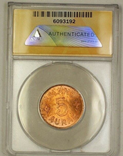 1942 Iceland 5A Five Aurar Copper Coin ANACS MS-63 Red (C)