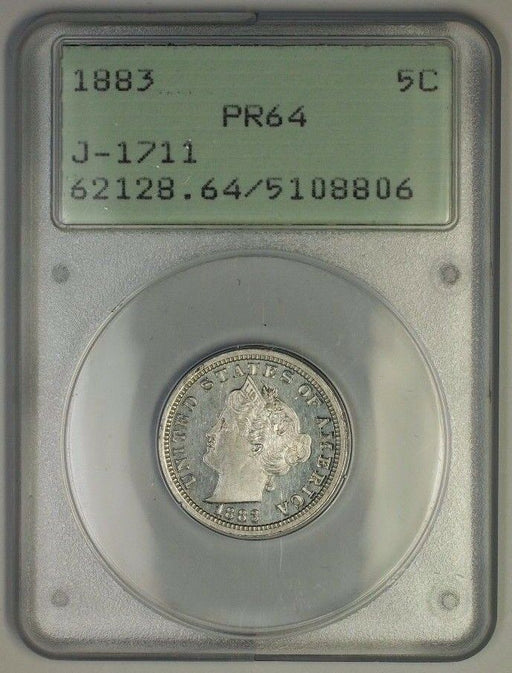 1883 Liberty Nickel Pattern Proof 5c Coin PCGS PR-64 OGH Rattler J-1711 Judd WW