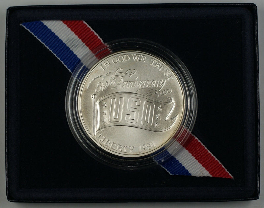 1991 USO Commemorative Uncirculated UNC Silver Dollar $1 Coin as Issued DGH