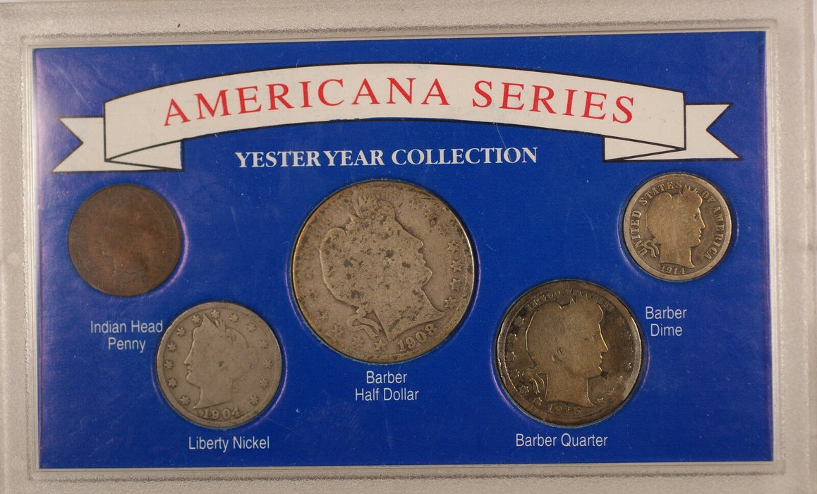 Americana Series: Yesteryear Coin Collection Silver Barber Half Quarter Indian