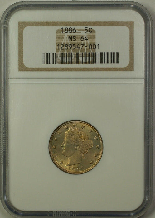 1886 Liberty V Nickel 5C Coin NGC MS-64