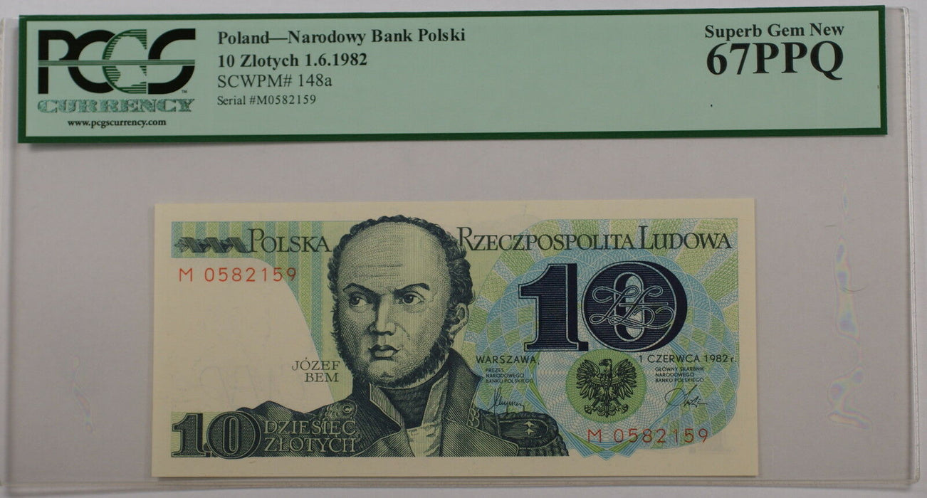 1.6.1982 Poland 10 Zlotych Note SCWPM# 148a PCGS 67 PPQ Superb Gem New