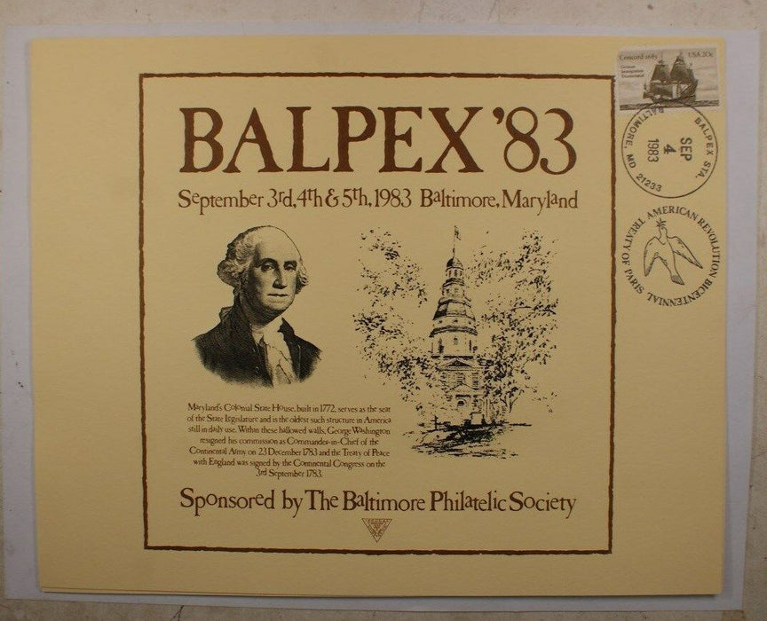 F 1983F Balpex 1983 George Washington Maryland State House Show cancelled