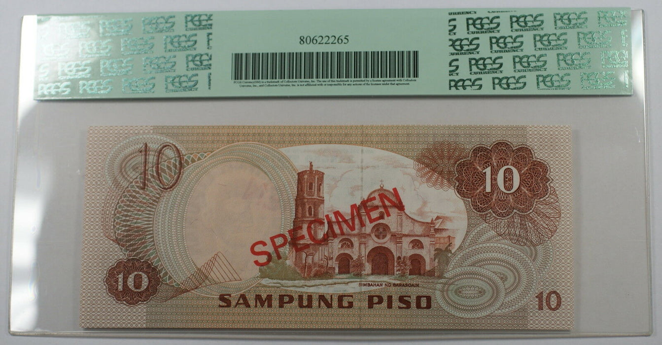 (1978) Philippines 10 Piso Specimen Note SCWPM# 161a-CS1 PCGS 66 PPQ Gem New