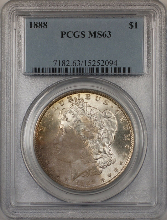 1888 Morgan Silver Dollar $1 Coin PCGS MS-63 Toned (BR-21 B)