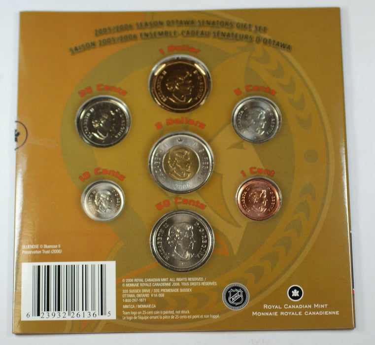 2005-06 Canada Hockey Ottawa Senators Uncirculated 7 Coin Gift Set