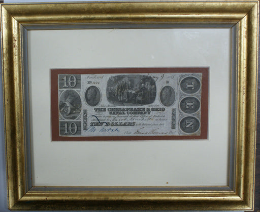 Framed Fredrick Maryland $10 Chesapeake and Ohio Canal Company Bank Note