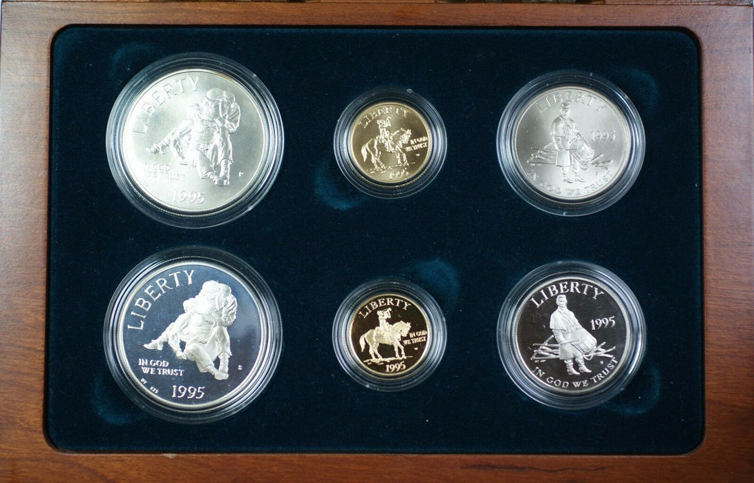 1995 Civil War Battlefield Gold Silver & Clad 6 Coin Proof &UNC Set NO OUTER BOX
