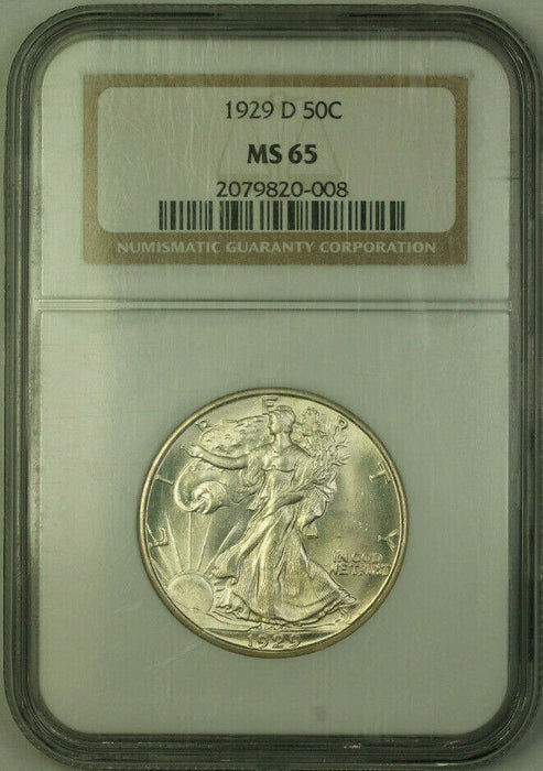 1929-D Walking Liberty Half Dollar 50c Silver Coin NGC MS-65 JAB