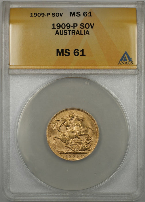 1909-P Australia Sovereign Gold Coin ANACS MS-61 (L AMT)