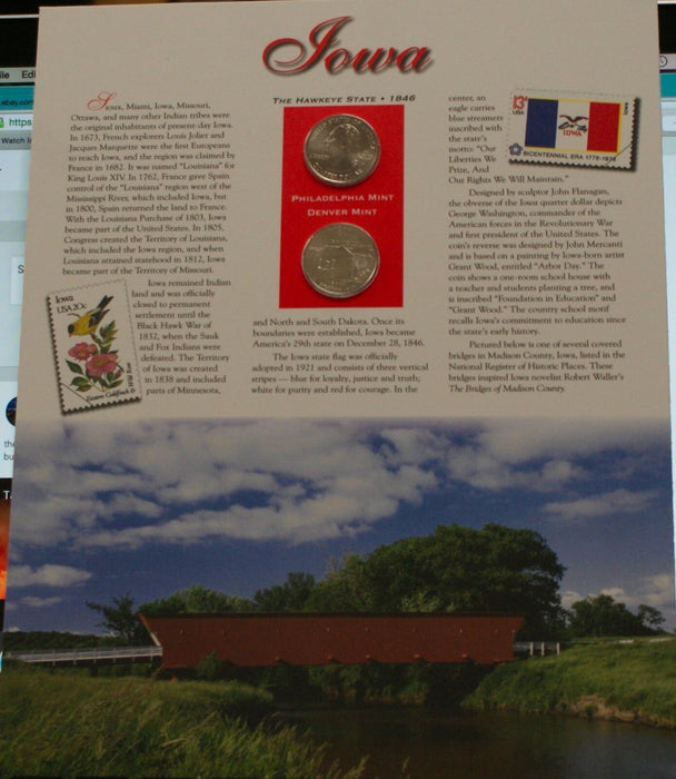 Iowa 2004 P&D Quarter for Anniversery of Statehood Bonus Stamp