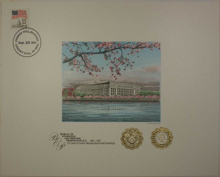BEP Souvenir Card B 101F GENA 1987 Embossed Cherry Blossoms Show Cancelled