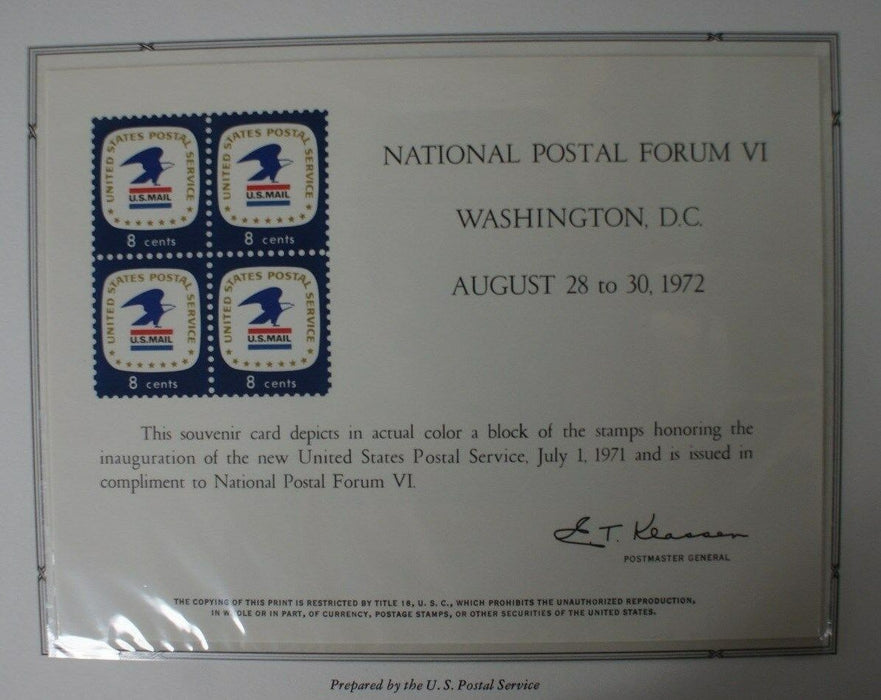 souvenir card PS 8 Postal Forum 1972 block 1971 8¢ USPS stamps