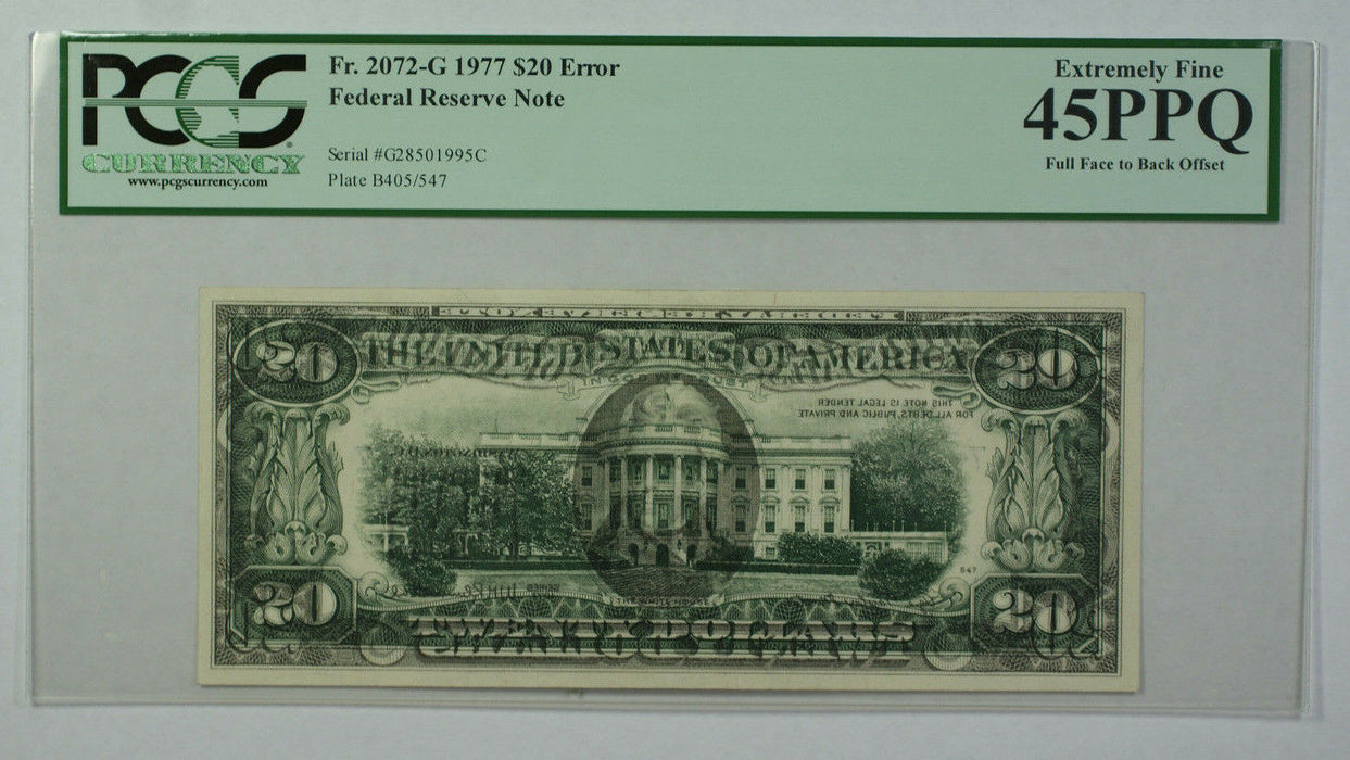 1977 $20 Bill Error Full Face to Back Offset Note FRN PCGS 45PPQ Fr. 2072-G