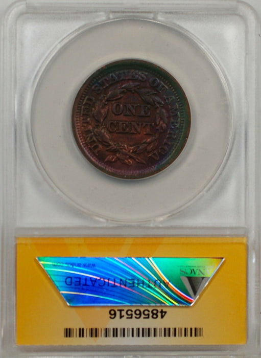 1852 Large Cent 1c Coin ANACS EF 45 Details Recolored