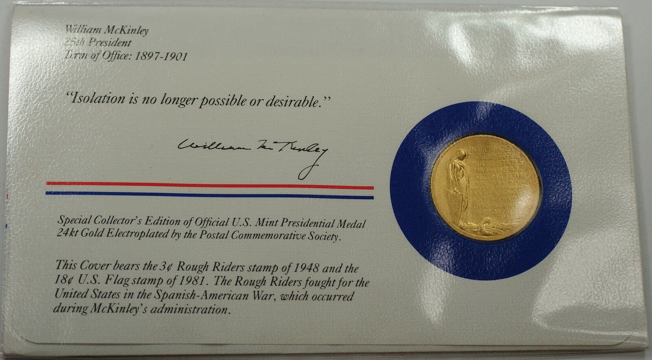 William McKinley Presidential Medal 24 KT Electroplate Gold & Stamps Cover