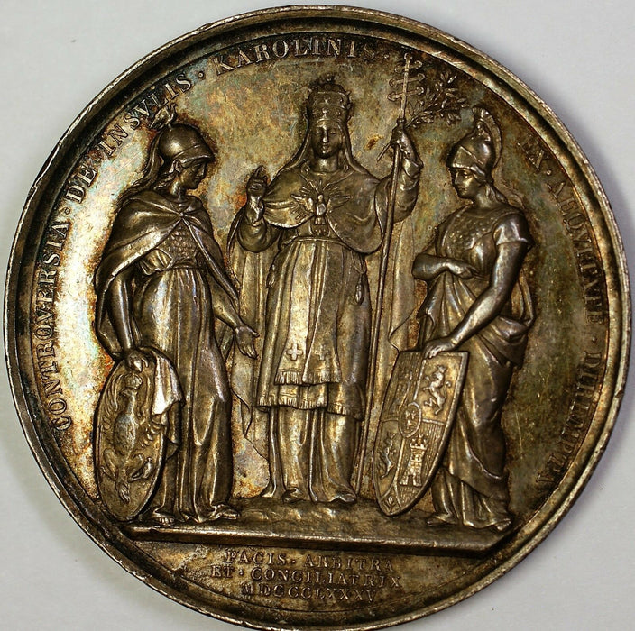 1875 Pope Leo Vatican Commemorative Silver Medal Circulated and Toned