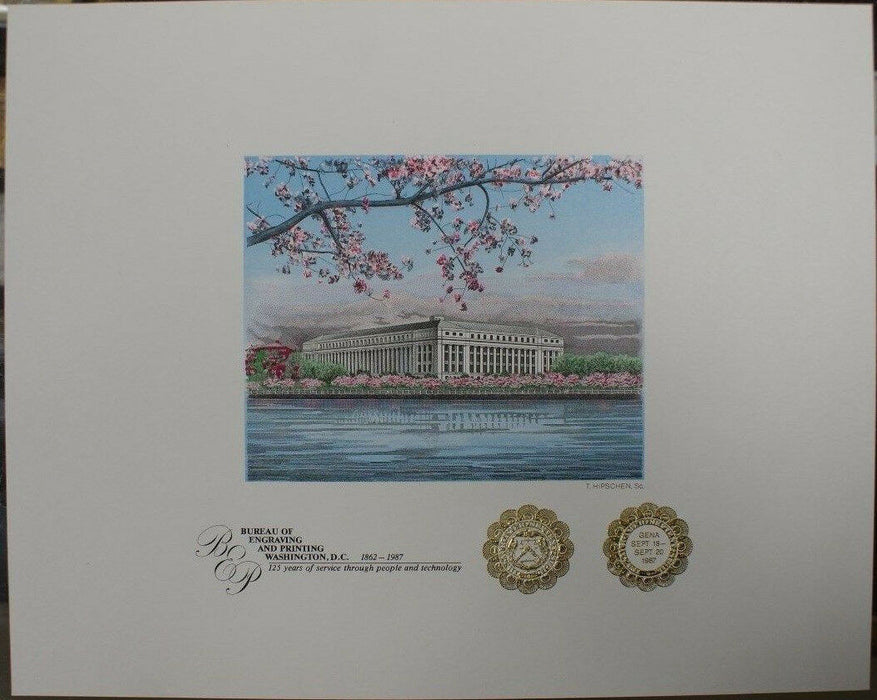 BEP Souvenir Card B 101F GENA 1987 Embossed Cherry Blossoms