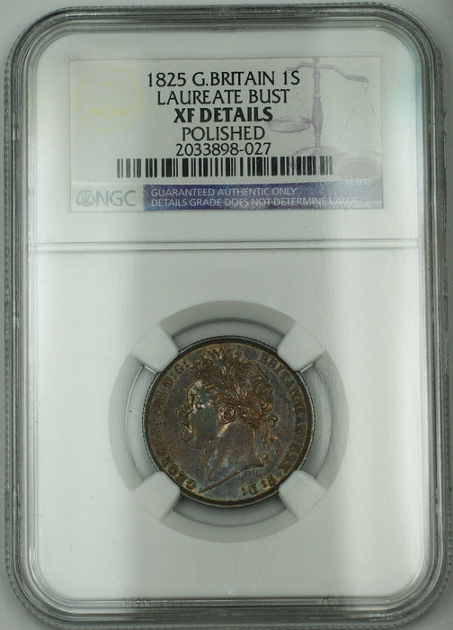 1825 Britain 1 Shilling Coin Laureate Bust George IV NGC XF Details Polished AKR