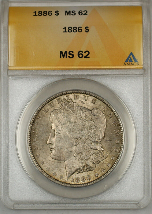 1886 Morgan Silver Dollar $1 Coin ANACS MS-62 Toned (6A)