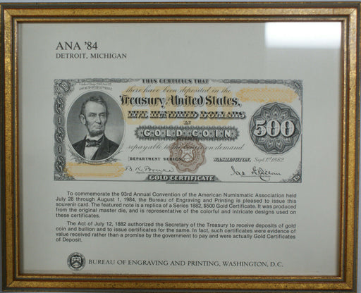Framed ANA Souvenir Card 1984 BEP B 71 $500 Lincoln Gold Certificate 1882 Series
