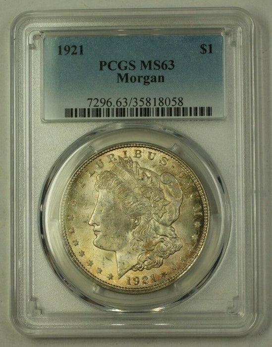 1921 US Morgan Silver Dollar $1 Coin PCGS MS-63 Nicely Toned Obverse (C) 12