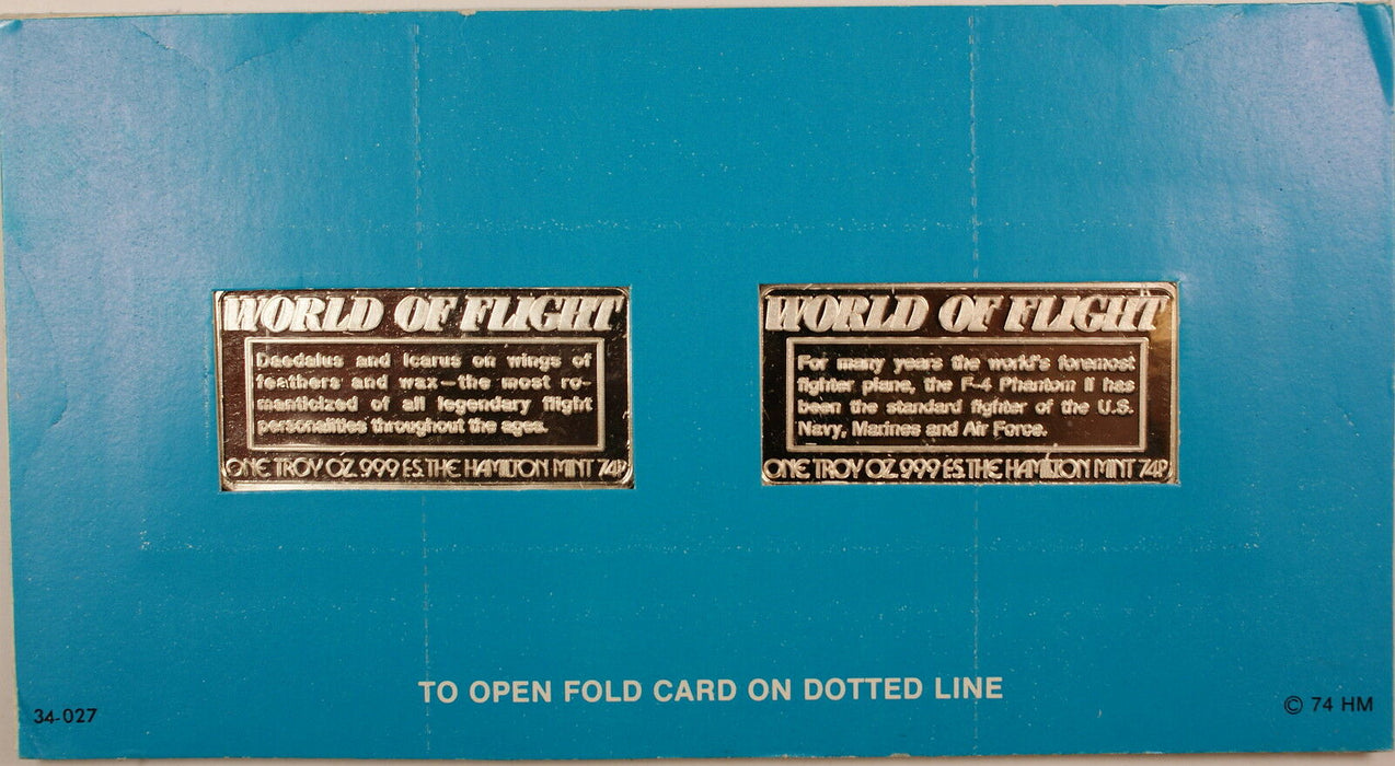 World of Flight 1 oz Silver Ingot-Sealed- Douglas F-4, Daedalus and Icarus