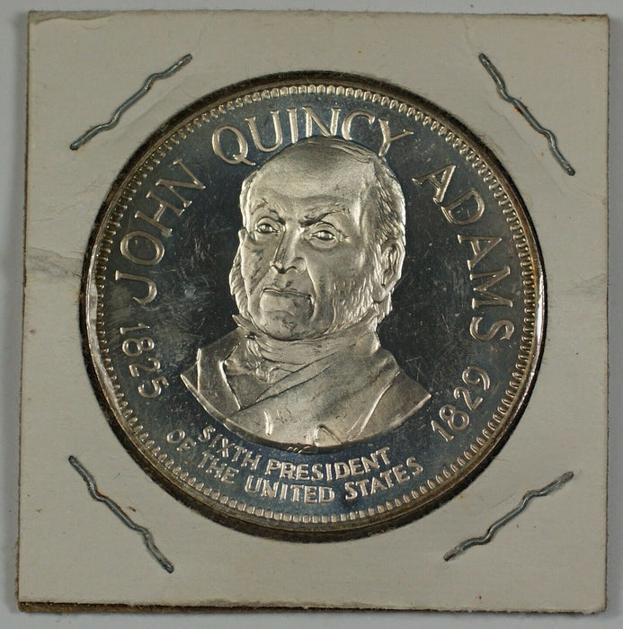 John Quincy Adams Sterling Silver Medal With Information Blurb on the Reverse