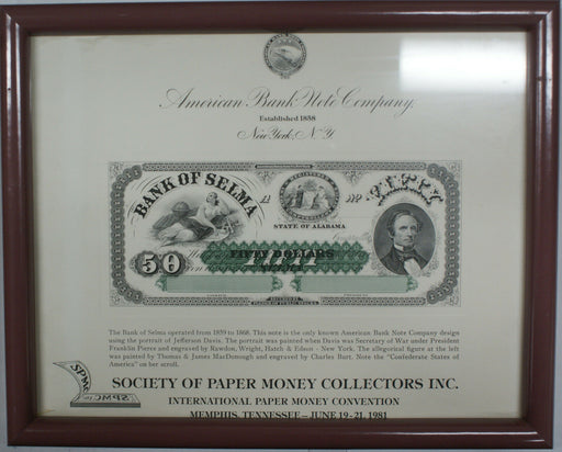 Framed ABNC Souvenir Card SO 15 TN 1981 SPMC $50 Bank of Selma AL Large Note
