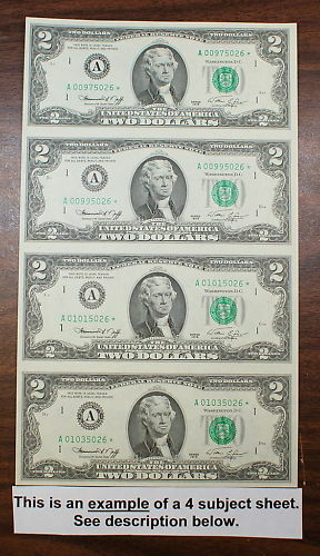 1995 4 Subject Uncut $2 Sheet, *FF* Block Letters fw