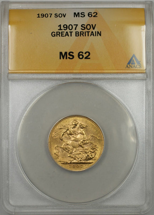 1907 Great Britain Sovereign Gold Coin ANACS MS-62 (AMT)