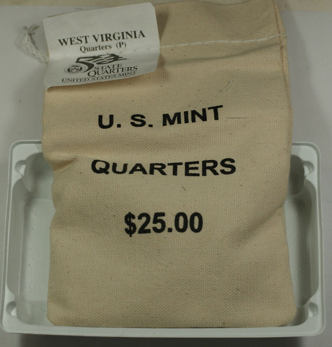 $25 US Mint Sewn 2005-P West Virginia State Quarters in Original Bag BU Coins