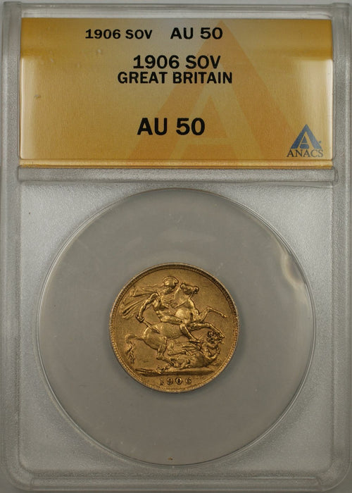 1906 Great Britain Sovereign Gold Coin ANACS AU-50 (AMT)