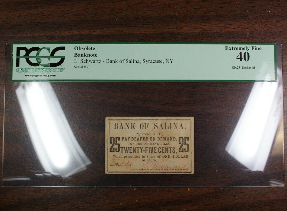 Undated 25 Cents Note, Bank of Salina, Syracuse NY, PCGS 40, Obsolete Banknote