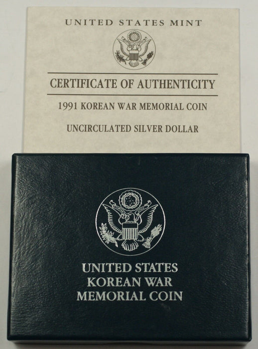 1991 U.S. Mint Korean War Commemorative UNC Silver Dollar Coin as Issued DGH