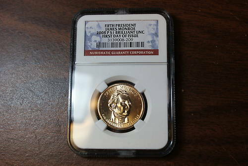 2008-P James Monroe BU Dollar NGC First Day of Issue
