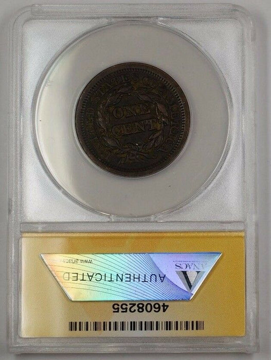 1853 US Braided Hair Large Cent Coin ANACS EF-45 Details Corroded