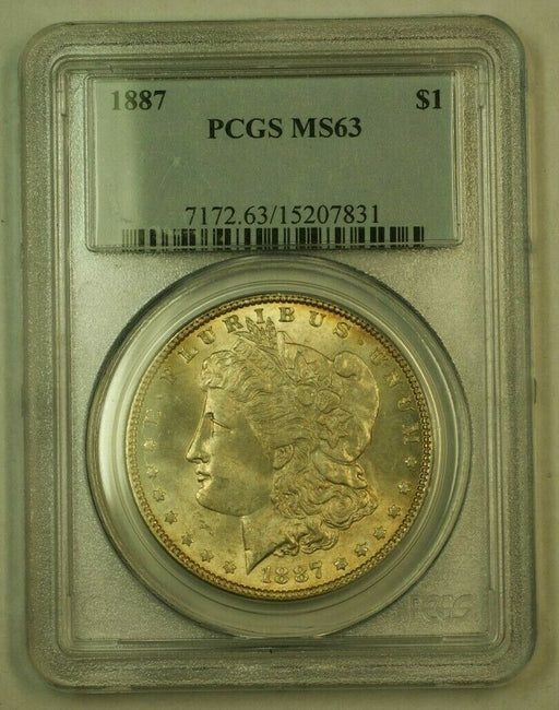 1887 Morgan Silver Dollar $1 PCGS MS-63 (Light Toning) (24B)