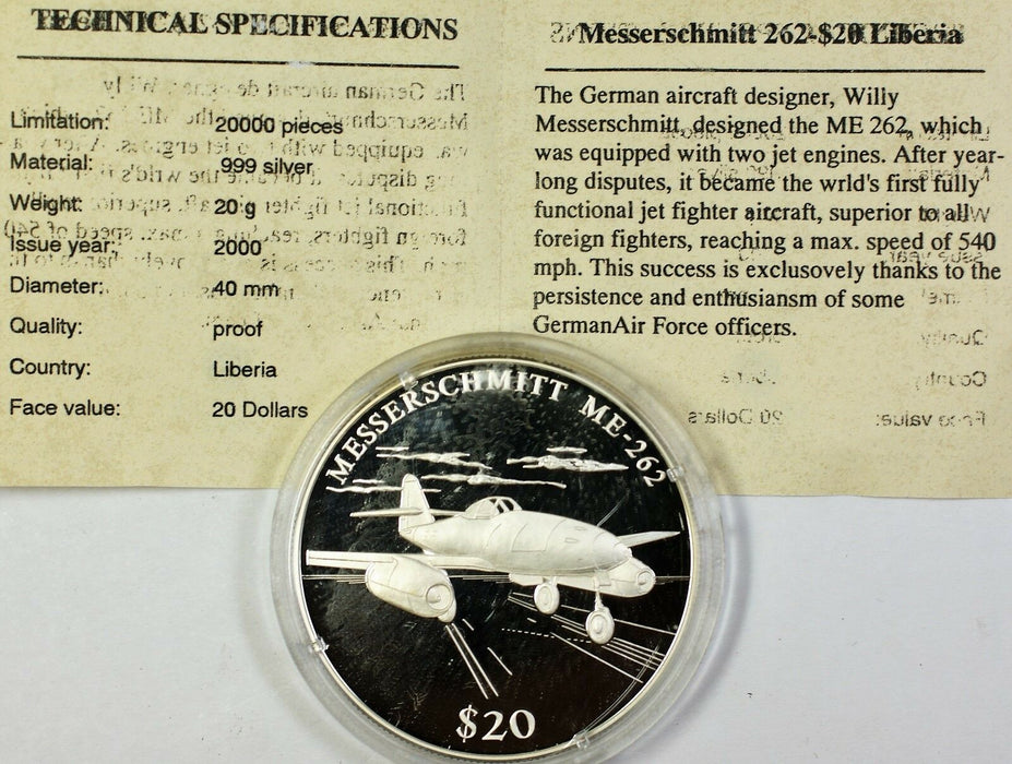 2000 Republic of Liberia Silver $20 Messerschmitt German Jet Proof Coin with COA