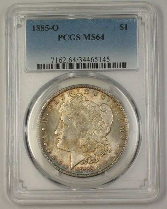1885-O US Morgan Silver Dollar $1 Coin PCGS MS-64 Nicely Toned (17a)