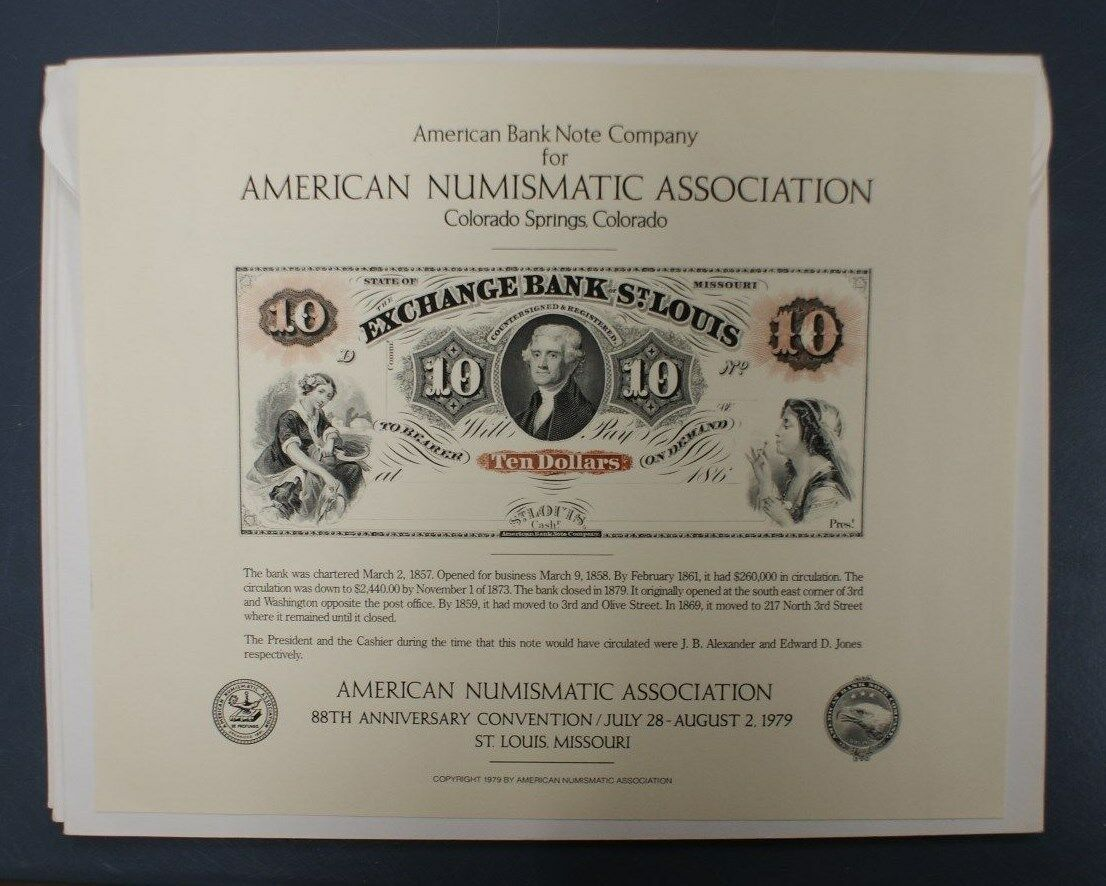 souvenir card SO 10 SPMC 1979 Face $10 Exchange Bank of St. Louis, MO obsolete
