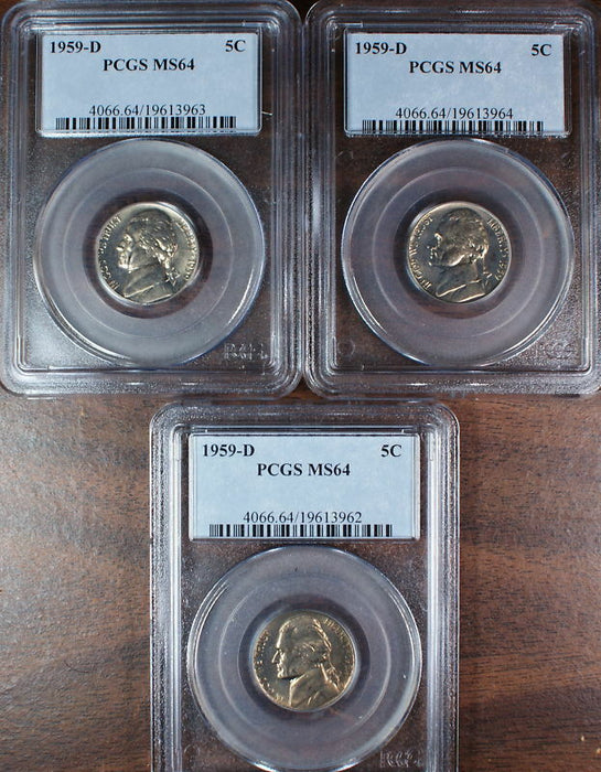 1959-D Jefferson Nickel Coin, PCGS MS-64, *PRICE FOR ONE COIN ONLY*