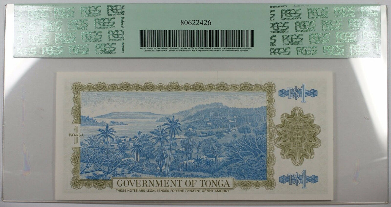 1976-89 Government of Tonga 1 Pa'anga Note SCWPM# 19c PCGS 66 PPQ Gem New