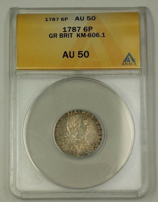 1787 Great Britain Six Pence 6p Silver Coin KM-606.1 ANACS AU-50
