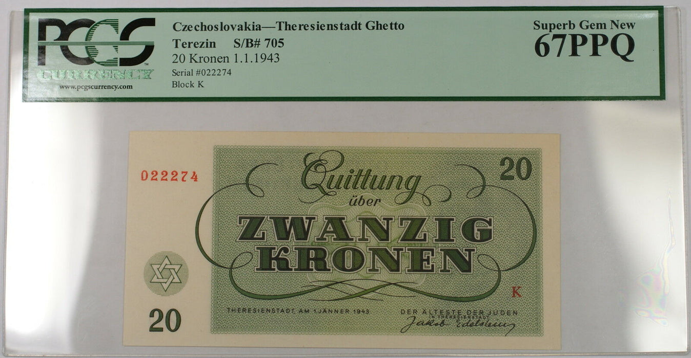 1943 Czechoslovakia Theresienstadt 20 Kronen S/B# 705 PCGS PPQ 67 Superb Gem New
