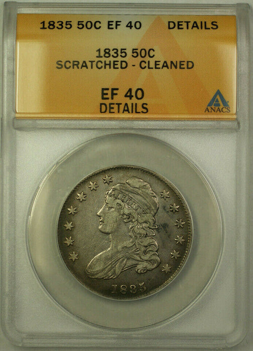 1835 Capped Bust Silver Half Dollar 50c Coin ANACS EF-40 Details