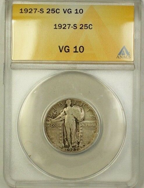 1927-S Standing Liberty Silver Quarter 25c Coin ANACS VG-10 (B)