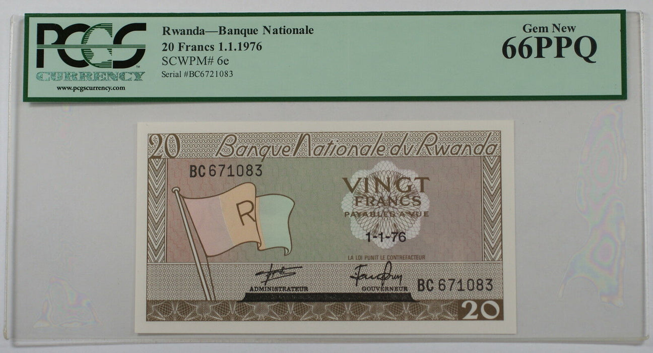 1.1.1976 Rwanda Banque Nationale 20 Francs Note SCWPM# 6e PCGS 66 PPQ Gem New
