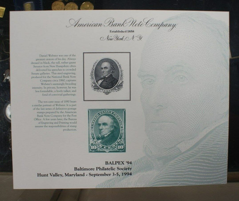 SO 134 Souvenir card Balpex 1994 Daniel Webster portrait from 1890 10¢ stamp
