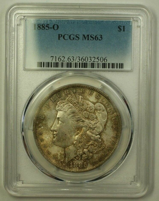 1885-O Morgan Silver Dollar $1 Coin PCGS MS-63 BU Choice Toned (Better) (19) A